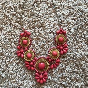 Gold and peach statement necklace